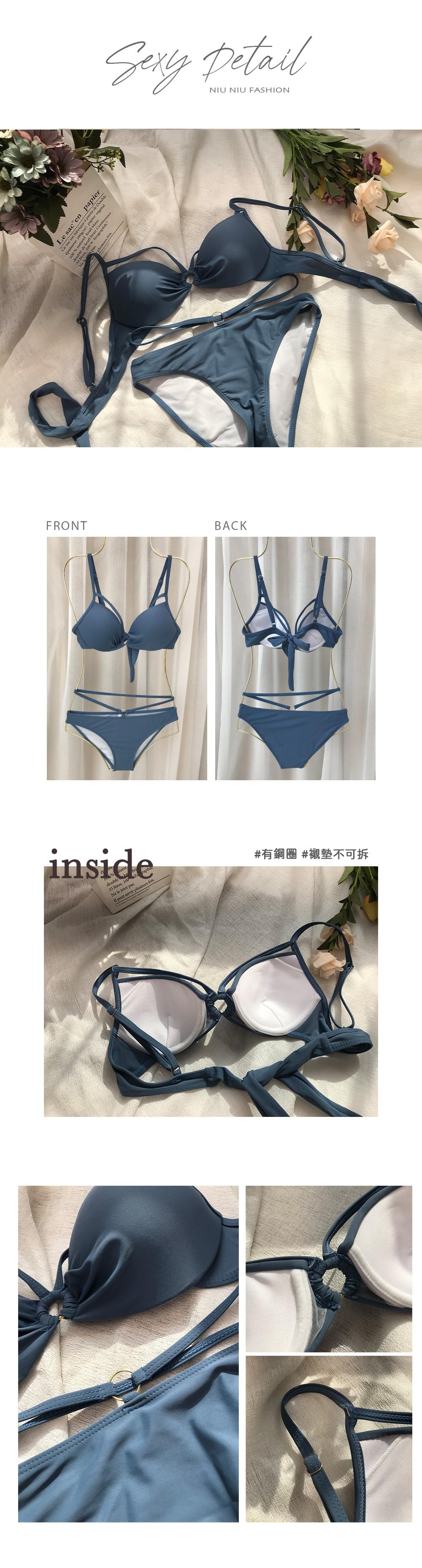 軟鋼圈美胸綁帶式性感比基尼泳裝 1色
