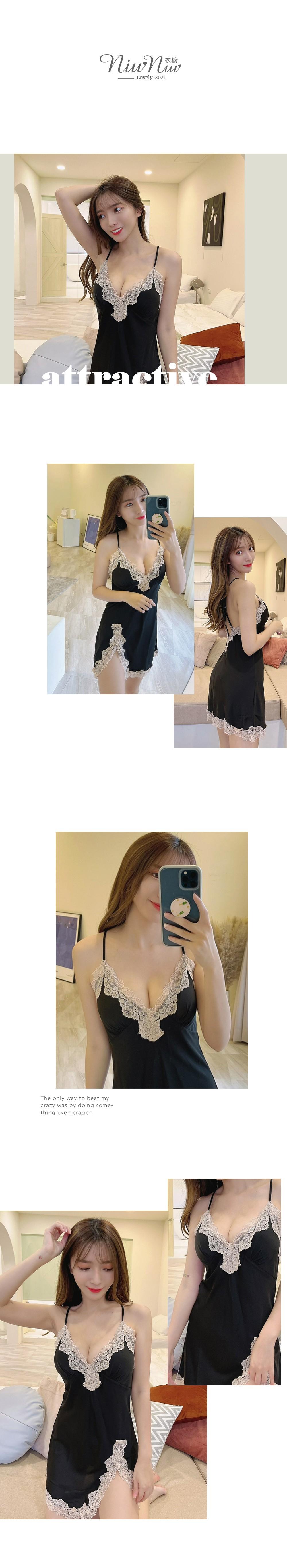 帶罩杯深V美背緞面睡衣單件 4色