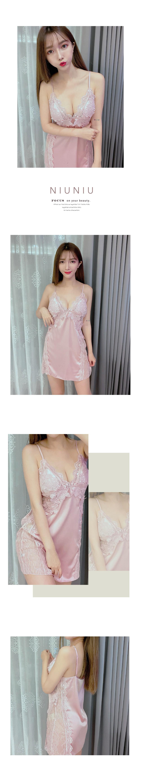 帶罩杯緹花簍空性感睡衣單件 4色