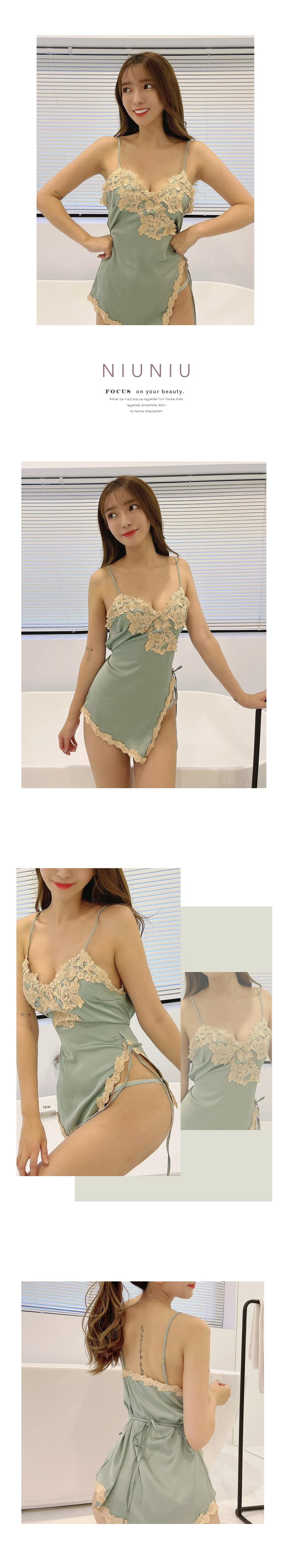 浪漫緹花滾邊綁帶性感睡衣套裝 3色