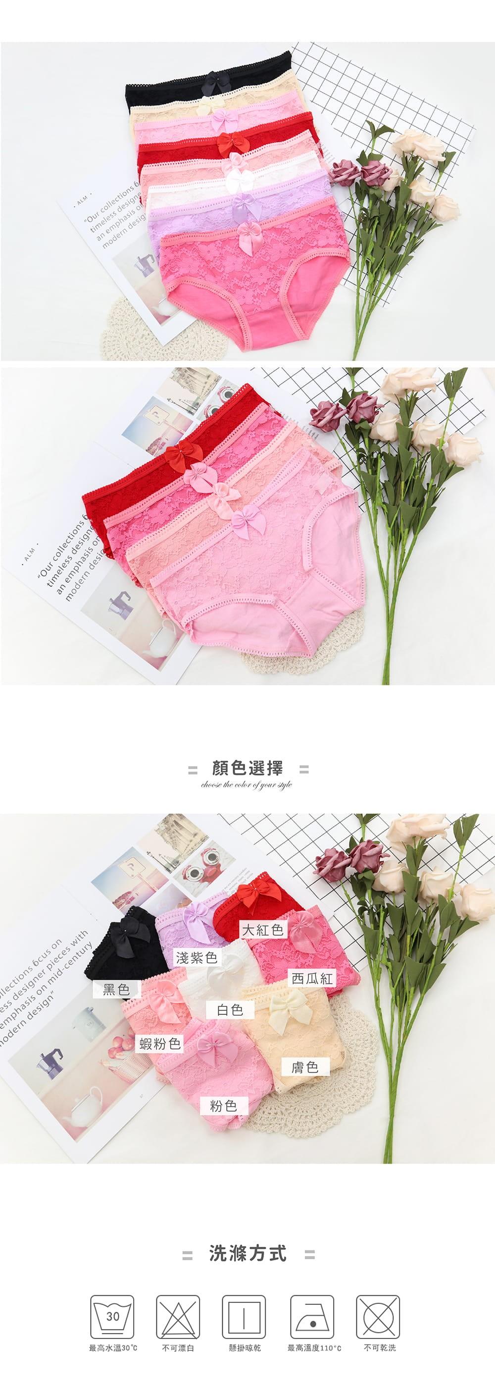 甜美蕾絲透膚棉多色內褲單件 9色