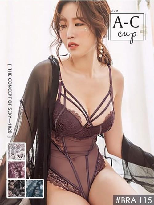 心機美魔女W型鋼連身透膚交叉內衣單件 4色